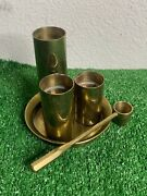 Brass Candlesticks Set Of 3 With Tray