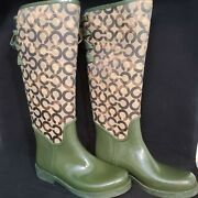 Coach Green Khaki Tristee Lace Back Rain Lined Tall Boots Womenand039s Size 7 Us