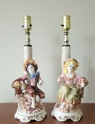 2 Capodimonte Mid-century Country Boy And Girl Figurine Table Lamps, No Shades.