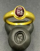 Ancient Romanand039s Gold Jewelry Ring With Garnet Signet Stamp 18 K Old Antique