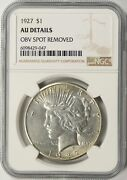 1927 Peace Dollar 1 Ngc Au Details - Obv Spot Removed