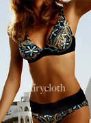 Swimsuit Blue Flowers Bust And Swimming Trunks Bikini Women Polyester Blac