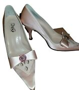 D And G Silk Crepe Covered Leather And Rhinestone Bow Pumps