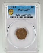 1914-d 1c Lincoln Cent Graded By Pcgs As Au-58 Key Date