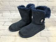 Ugg Button Bailey 3349 Womens Size 7 Dark Blue Bling Boots Crystals V2d