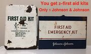 Vintage Johnson And Johnson First Aid Emergency Kit Wall Hang 1960's Plus. 2- Kits