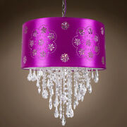 Joshua Marshal 7035-008 One Light Led Purple Drum Shade Pendant With Clear