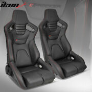 Bucket Racing Seat Universal Pair Reclinable Dual Slider Black Pu Carbon Leather