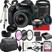 Canon Eos 2000d Rebel T7 Dslr Camera With 18-55mm F/3.5-5.6 Zoom Lens, 64gb Me