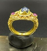 Antiques Ancient Ayutthaya Gold Jewelry Ring With Gems Stone Ruby Sapphire