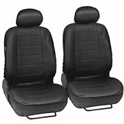 Black Leatherette Car Seat Covers Front Pair Set 2 Faux Leather Upholstery Ups