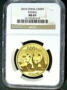China One Ounce Gold Panda 2010 500y Spotless Ngc Ms-69