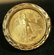 Fancy 14k Women Coin Ring. W/1/10oz Am Eagle Gold Coin. 8.98grs Total Wgt Sz 7.5