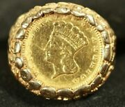 14k Women's Coin Ring. W/type 3 U.s. Gold Coin. 8.48 Grams Total Weight. Sz 4.5