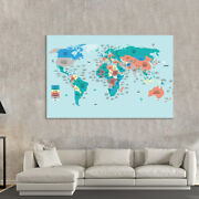 Laminated World Map Political Poster Large Blue Ocean Print Home Wall Decor