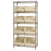 Quantum Storage Systems Wr5-270 Chrome Wire Shelving Unit With Bins