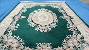 Vintage Chinese Carpet 10x14 Pine Green And Ivory Carving 90 Line Wool Area Rug