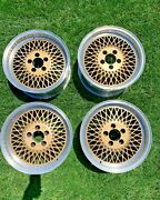 Rare Fox Mustang Saleen Mesh Wheels Staggered Two Piece Rims Set 4 With Caps