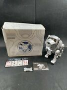 Tekno Interactive Robotic Puppy Dog Silver 90and039s By Manley Quest W/bone 3476