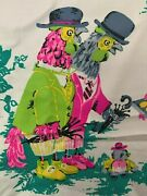 Vtg Bright Pink Childrens Juvenile Novelty Animal Fabric Chicken Sheep Cow Bunny