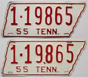 Tennessee 1955 License Plate Pair, 1-19865, Davidson County, Original Paint