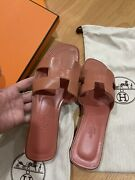 New Hermes Oran Sandals - Nude Rose Aube Size 36 Sold Out. 100 Authentic