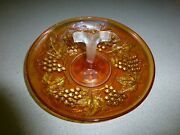 Vintage Marigold Carnival Glass Grape Appetizer Tray, Excellent