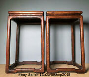 16old China Huanghuali Wood Inlay Shell Stool Flower Stand Shelf Furniture Pair