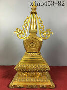 18.4andrdquoancient Chinese Old Copper Gilding Pagoda Statue Ornaments