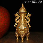 Ancient Chinese Pure Copper Gilding Animal Head Three Feet Two Animal Ears Tripo