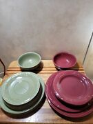 Longaberger Pottery Plate And Bowl Set. 6 Green Plates, 1 Green Bowl. 5 Red...