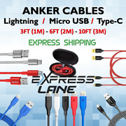 Anker Cable Charger 8-pin / Micro Usb / Type C Phones 3ft/6ft/10ft Fast Lot