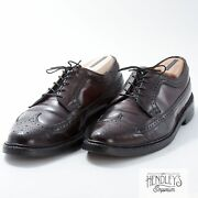 Vintage Florsheim Shell Cordovan Shoes 10.5 D In Brown Long Wing Blucher 93605