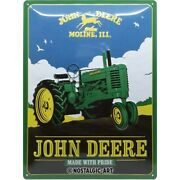 John Deere Made With Pride Tin Sign Shield 3d Embossed 11 13/16x15 11/16in