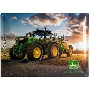 John Deere 6150 R Tin Sign Shield 3d Embossed Arched 11 13/16x15 11/16in