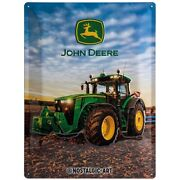 John Deere 8370 R Tin Sign Shield 3d Embossed Arched 11 13/16x15 11/16in