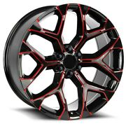 26 Wheels Glossy Black With Red Mill Bolt 6x139.7 6x5.5andnbspsnowflake