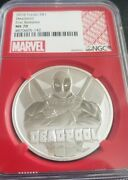 2018 Tuvalu 1 Silver .9999 Deadpool Ngc Ms70 Marvel First Releases - Red Core