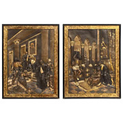 Pair Of Gilt And Patinated Bronze Relief Plaques Depicting Shakespeare Othello