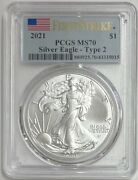 2021 American Silver Eagle First Strike Pcgs Ms-70 Pcgs Type 2
