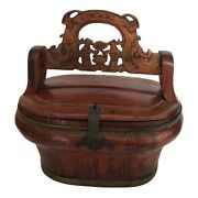 Chinese Wood Lunch Box Carved Handle