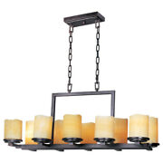 Maxim 21149scre Ten Light Rustic Ebony Stone Candle Glass Candle Chandelier