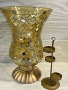 Partylite Candle Holder Gold Global Fusion Mosaic Hurricane Stained Glass Vase