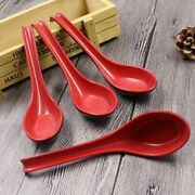Large Red And Black Ramen Noodle Japanese Soup Spoons With Long Handle 6pcs