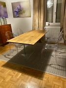 Table Solid Wood Oak With Knots Various Sizes Base Glass Finished Wheat