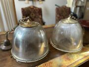Large Vintage Holophane Glass And Brass Pendant Lamps And039pairand039