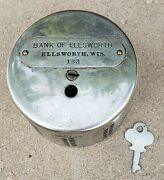 Vintage Silver And Cast Iron Coin Bank Of Ellsworth With Key