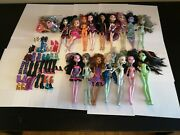Monster High Doll Lot Of 15 Dolls - Used Condition - Boots/shoes And Accessories
