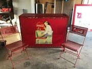 Coca Cola Folding Stand And Metal Folding Chairs