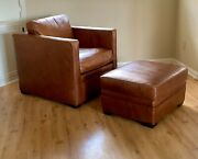 Exceptional Mitchell Gold And Bob Williams Leather Club Chair And Ottoman - Ex Cond.
